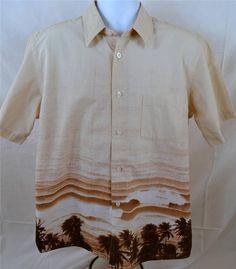 A Chang Men's Size Large Short Sleeve 100% Cotton Island Casual Wear Shirt #AChang #Casual