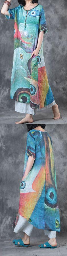 blue print linen dresses plus size traveling sundress half sleeve maxi dress
