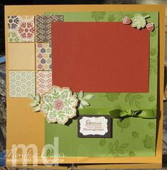"""Gratitude Progressive layout - I started with an 8-1/2"""" x 11"""" scrapbook page - that was added to a 12x12 page - this is the left page of a 2 -page layout - Stampin' Up!"""