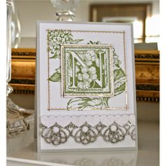 Marybeth Lopez used Serendipity Stamps Floral Alphabet rubber stamp to make her card.