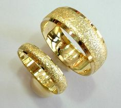 16 Wedding bands set gold wedding rings for men and women  14k  gold.