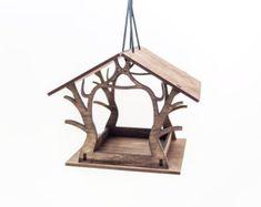 Birdfeeder for patio and garden Rustic birdhouse Wood bird house Bird feeder Garden decor