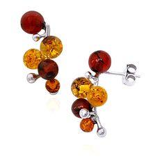 Honey, Yellow & Cherry Amber Sterling Silver Earrings