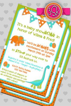 Marvelous Dinosaur Baby Shower Invitations By 3SmittenKittens On Etsy, $10.00