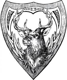 Vintage Shield Deer Image - The Graphics Fairy