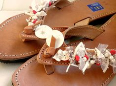 Greek leather sandals with shell beadsBridal by dadahandmade, €37.00