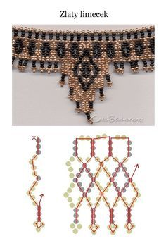 Several netting stitch beading patterns for various projects - bracelet, necklace, collars, earrings Beading Patterns Free, Seed Bead Patterns, Beading Projects, Beading Tutorials, Beaded Necklace Patterns, Beaded Necklaces, Bracelet Patterns, Beaded Bracelet, Gold Necklace
