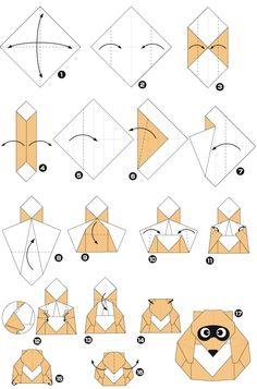 Origami de guaxinim arruela