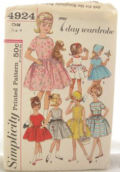 Simplicity 4924 Girls 1960s Full Skirt Dress    I like this...A 7 day Wardrobe. Pretty clever!