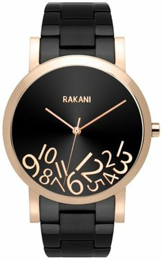 Rakani What Time? 40mm Rose Gold on Black Watch with Black Steel Band: Watches: Amazon.com