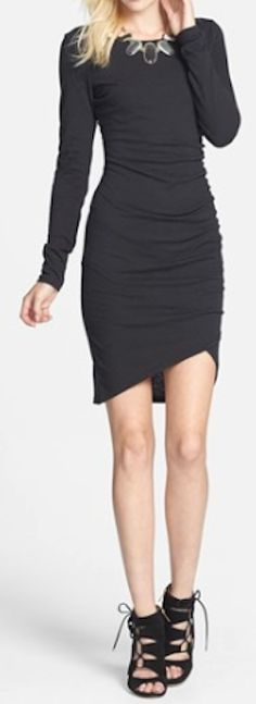ruched long sleeve dress http://rstyle.me/n/mpnfnpdpe