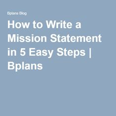 how to write a mission statement for a business