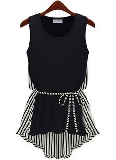 Black Sleeveless Vertical Stripe Asymmetrical T-Shirt - Sheinside.com