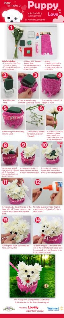 DIY Puppy Love Floral Arrangement...if I could do this for Brielle's birthday she would love me forever....