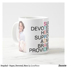 Stepdad - Super, Devoted, Hero Large Coffee Mug Stepdad Fathers Day Gifts, Gifts For Dad, Large Coffee Mugs, Candy Jars, Business Supplies, Cool Things To Buy, Hero, Tableware, Cool Stuff To Buy