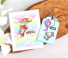 Hello there and welcome to day one of the Clearly Besotted March 2020 Teasers. The new sets release on March and from now until then, . Rainbow Card, Rainbow Colors, Under My Umbrella, Paper Crafts, Diy Crafts, Cloudy Day, Copics, Hero Arts, Copic Markers