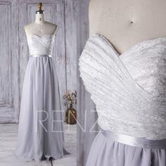2016 White Lace Sweetheart Bridesmaid Dress Long, Light Gray Chiffon Wedding Dress, Strapless Prom Dress, Open Back Evening Gown Full…