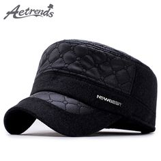 AETRENDS] 2017 New Winter Men's Military Cap with Ear Flaps PU Leather Dad Hats Flat Captain Sailor Army Cap Z-6020 Great, huh? Visit us