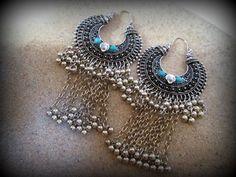 Bohemian silver earring-tribal dangle by FabJeweLLerYY on Etsy
