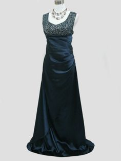 Full front view. Blue, Purple, or Black full length evening dress. UK 8, 12, 14, 16. Click to buy. Free shipping.