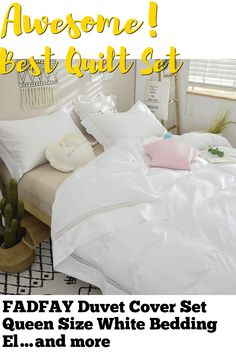 FADFAY Duvet Cover Set Queen Size White Bedding Elegant Guipure Lace 100% Cotton Hypoallergenic with Hidden Zipper Closure,3-Piece:1duvet Cover & 2pillowcases, Queen Size (This is an affiliate pin) Boho Bedding, White Bedding, Bed Covers, Duvet Cover Sets, Quilt Sets, Queen Size, 3 Piece, Toddler Bed, Romantic