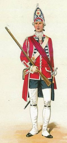 "Grenadier officer, 60th (Royal American) Regiment of Foot, 1757-1767 - ""The 60th (Royal American) Regiment of Foot was raised as part of an effort to create units of the British army drawn from the American colonies....Grenadiers wore the distinctive pointed cap shown here until these were replaced by fur caps in 1768. The officers and drummers (but not the ordinary soldiers) of the 60th had their uniforms trimmed with lace."""