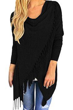 92f1d03eaf Pink Queen Women s Tassel Fringe Knit Pullover Sweater Cardigan Coat Black S