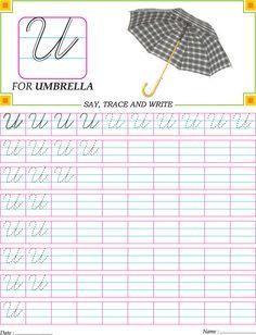 Cursive capital letter U practice worksheet Handwriting Worksheets For Kids, Cursive Handwriting Practice, Cursive Writing Worksheets, Alphabet Tracing Worksheets, Handwriting Analysis, Alphabet Worksheets, English Cursive Writing, Cursive Small Letters, Lettering