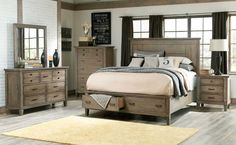 Trinell 5Pcqueen Bedroom Set  Replicated Oak Grain Takes The Interesting Rustic Bedroom Sets 2018