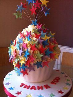 Stars giant cupcake cake