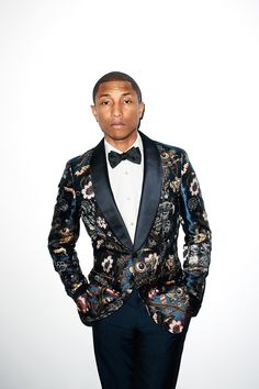 Pharrell Williams Being an Individual! Breakout of the norm! make something your own signature. A Satin Pattern Blazer with Satin Lapels