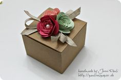 Cute Stampin Up spiral flower box By Jenni
