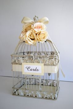 centerpiece bird cages   Custom Large Wedding Bird Cage Card Holder Money Holder - Ivory ...