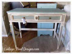 Vintage Street Designs: Distressed Blue & White Desk