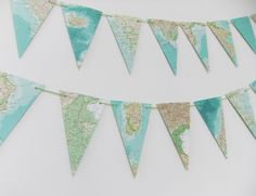 Map bunting - World Atlas Bunting - Eco-friendly bunting garland - Wedding decor £10.00...good mix of colours! I love it!