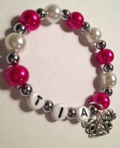 Cute handmade stretch hot pink and pearl by DDsSassyAccessories, $4.00