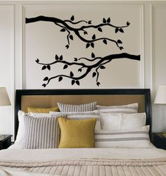 Grey Branch With Leaves Wall Decals Wall Decal - 61 x 91 cm Wall Stickers, Wall Decals, Bedroom Wall, Bedroom Decor, Bedroom Stuff, Bedroom Ideas, Master Bedroom, Do It Yourself Design, Vinyl Wall Art