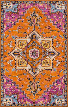 The saturated shades of this decorative area rug reinvent the classic Persian carpet in a vivid color palette. Hand tufted from natural wool, each floorcovering makes a dramatic design statement as a focal point on floors throughout the home. Orange Rugs, Orange Area Rug, Beige Carpet, Modern Carpet, Dark Carpet, India Pattern, Oriental, Carpet Trends, Carpet Ideas