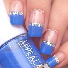 Blue Tipped Square Nails with Diamonds Borders Classy Nails, Stylish Nails, Trendy Nails, Diamond Nail Designs, Diamond Nails, Diamond Design, Classy Nail Designs, Blue Nail Designs, Bridal Nails