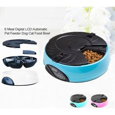 Programmable Automatic Pet Feeder w/ LCD in Blue