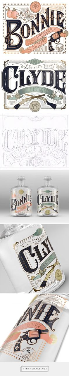 Typography Bonnie & Clyde Gin Packaging Design by Pearly Yon (South Af Vintage Typography, Typography Letters, Graphic Design Typography, Lettering Design, Hand Lettering, Poster Design, Label Design, Branding Design, Logo Design