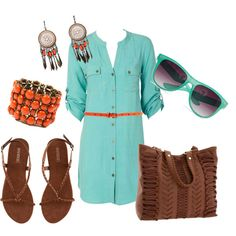 This button down drees outfit is perfect for relaxing at the beach with a book or hanging out with your friends.