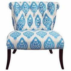 Ikat Slide Chair, Parsons Chair, Ikat, Polyester/Polyester blend, Blue, White, Armless, Black