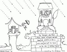 "Wise and Foolish Builders"" Coloring Page Matthew 7:24 House on the ..."
