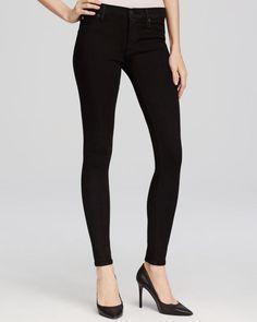 Hudson Nico Mid Rise Super Skinny Jeans in Black