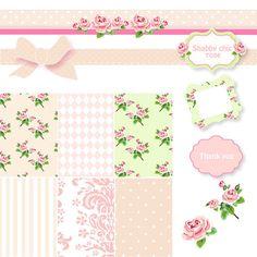 Paquete de papel Shabby Chic Scrapbook Digital. Papeles de color rosados y verdes, Vector Marcos y rosas Clip Art.