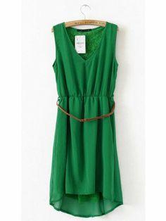 green dresses for women | Women V Neck Asymmetric Chiffon Sleeveless Green A Line Dark Grain ...