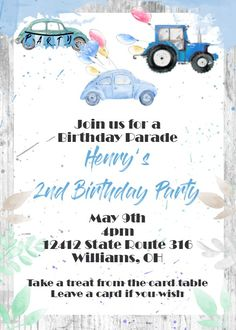 Drive by blue car and tractor Birthday Party Invitations social distancing Western Invitations, Bowling Invitations, Tea Party Invitations, Movie Invitation, Tractor Birthday, Bridal Luncheon, Couple Shower, Girl Shower, 2nd Birthday Parties
