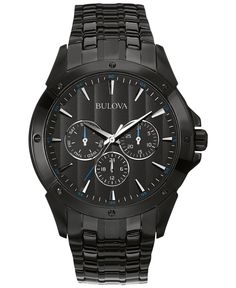 3d31a5ffa0a Bulova Men s Black Ion-Plated Stainless Steel Bracelet Watch 43mm 98C121 -  Men s Watches -