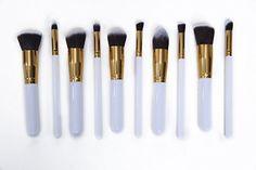 Beyondtek Professional 10pcs Makeup Brush Set Pro Kits Brushes Kabuki Makeup Cosmetics Brush Tool White_Gold *** You can get more details by clicking on the image.
